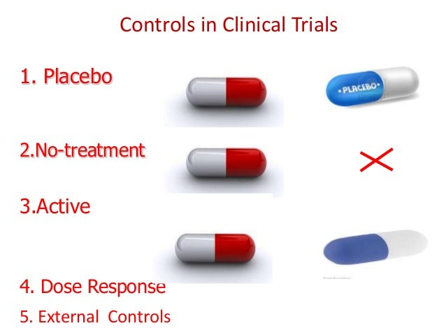 Controls in Clinical Trials 1. Placebo 2.No-treatment 3.Active 4. Dose Response 5. External Controls 5 mg
