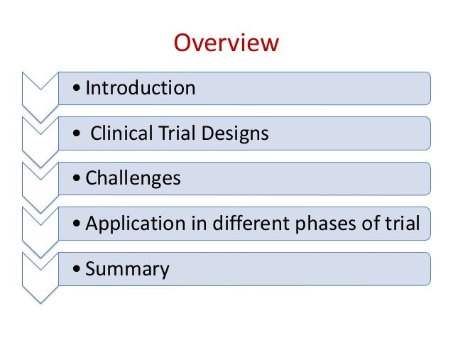 Overview •Introduction • Clinical Trial Designs •Challenges •Application in different phases of trial •Summary