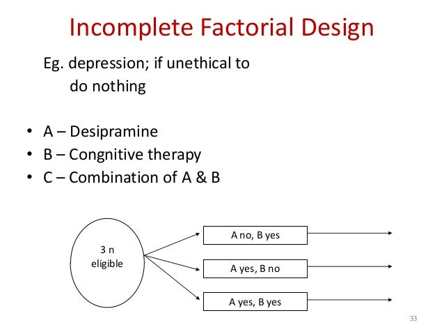 33 Incomplete Factorial Design Eg. depression; if unethical to do nothing • A – Desipramine • B – Congnitive therapy • C –...