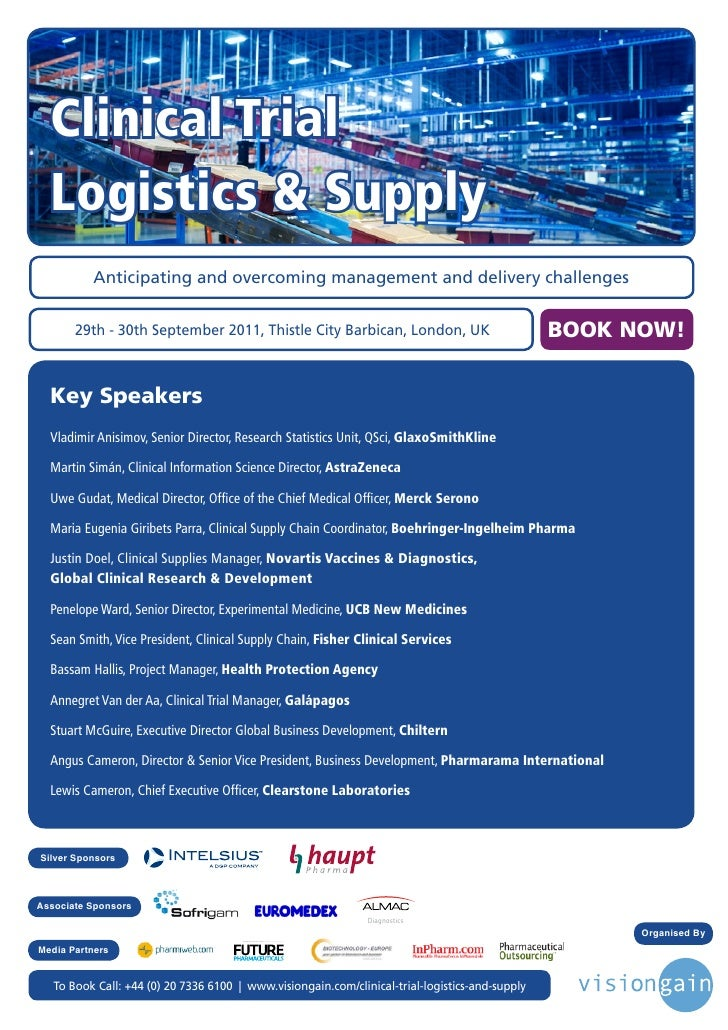 Clinical Trial  Logistics & Supply          Anticipating and overcoming management and delivery challenges       29th - 30...
