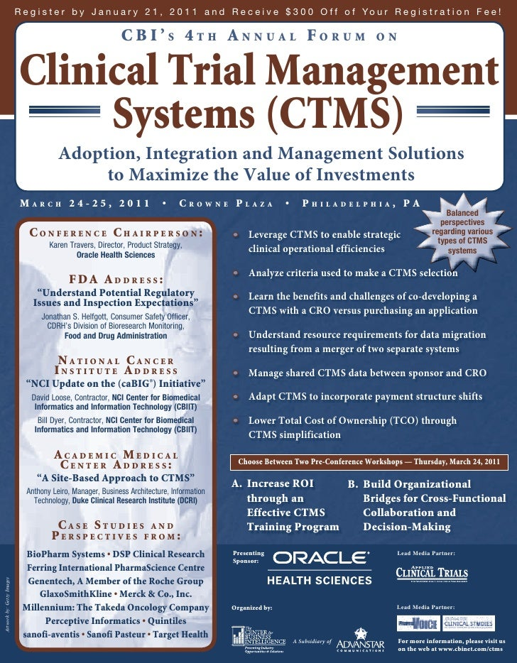 Cbi S 4th Annual Forum On Clinical Trial Management
