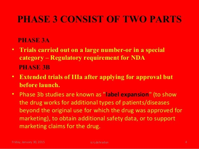 PHASE 3 CONSIST OF TWO PARTS PHASE 3A • Trials carried out on a large number-or in a special category – Regulatory require...