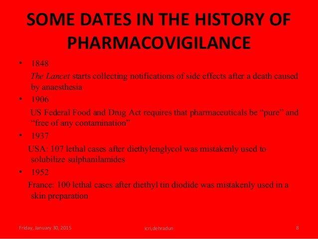 SOME DATES IN THE HISTORY OF PHARMACOVIGILANCE • 1848 The Lancet starts collecting notifications of side effects after a d...