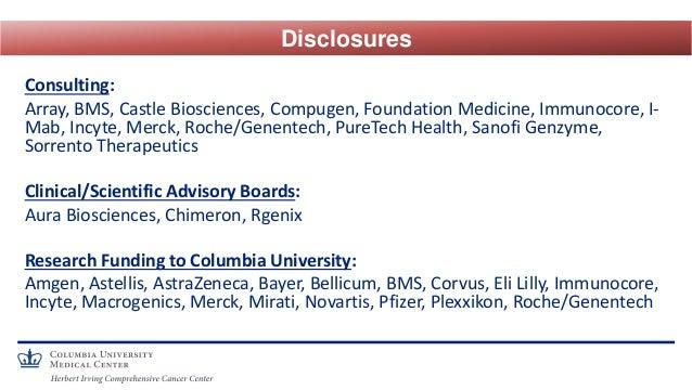 Consulting: Array, BMS, Castle Biosciences, Compugen, Foundation Medicine, Immunocore, I- Mab, Incyte, Merck, Roche/Genent...