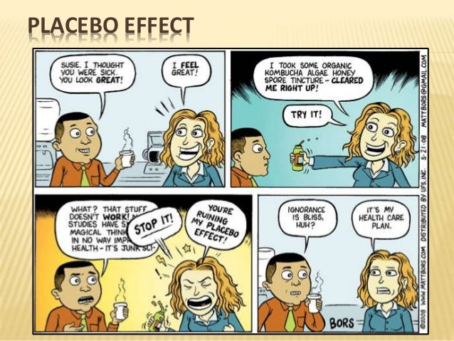 placebo effect The placebo effect refers to the process whereby the expectation that a treatment  will help relieves symptoms, regardless of the actual substance of the treatment.