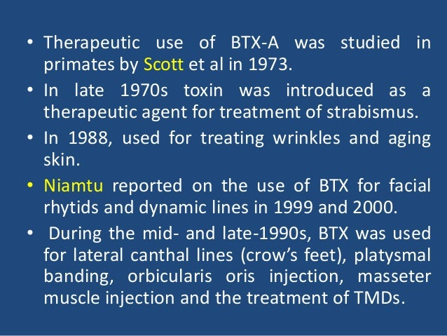 therapeutic uses of botulinum toxin essay Position statement on the therapeutic use of botulinum toxin in rehabilitation  medicine for spasticity and dystonia executive summary spasticity and.