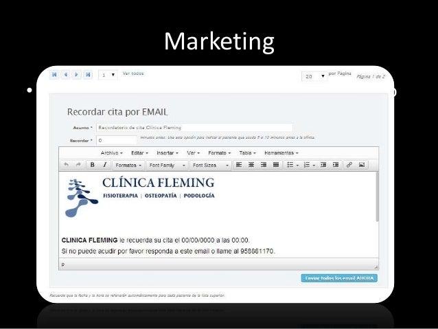 Marketing  Y además:  • Campañas de sms. Para lanzar campañas o  promociones vía sms  • Listado de sms. Revisa el listado ...