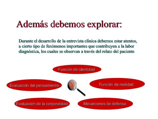 Además debemos explorar:Además debemos explorar: Durante el desarrollo de la entrevista clínica debemos estar atentos,Dura...