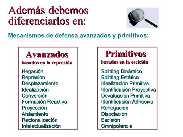 Mecanismos de defensa avanzados y primitivos: NegaciónNegación RepresiónRepresión DesplazamientoDesplazamiento Idealizació...