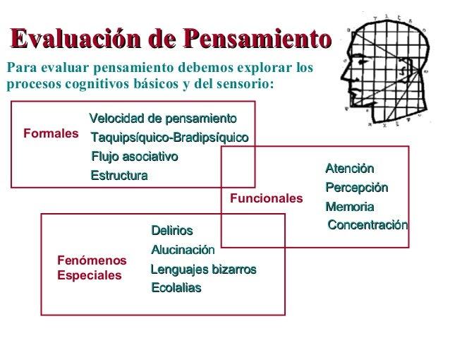 Evaluación de PensamientoEvaluación de Pensamiento Para evaluar pensamiento debemos explorar los procesos cognitivos básic...