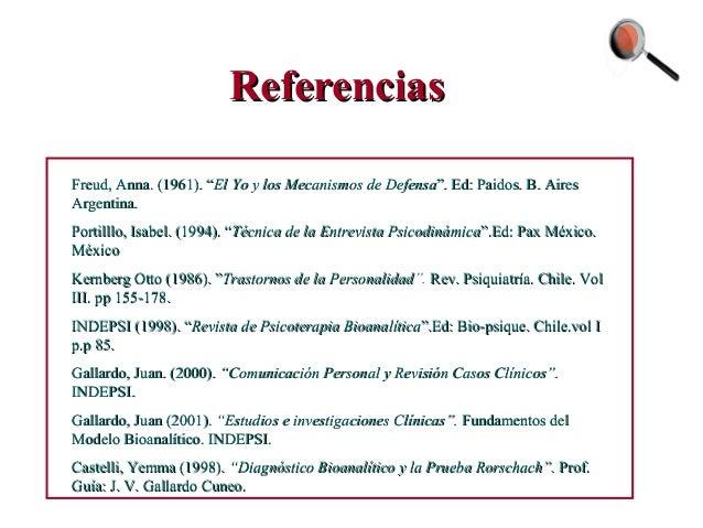 """ReferenciasReferencias Freud, Anna. (1961). """"Freud, Anna. (1961). """"El Yo y los Mecanismos de DefensaEl Yo y los Mecanismos..."""