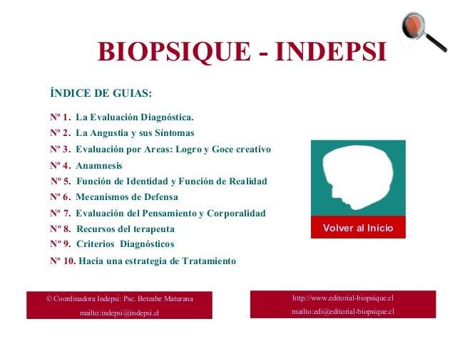 BIOPSIQUE - INDEPSI ÍNDICE DE GUIAS: Nº 1. La Evaluación Diagnóstica. Nº 3. Evaluación por Areas: Logro y Goce creativo Nº...
