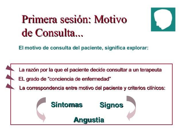 Primera sesión: MotivoPrimera sesión: Motivo de Consulta...de Consulta... El motivo de consulta del paciente, significa ex...