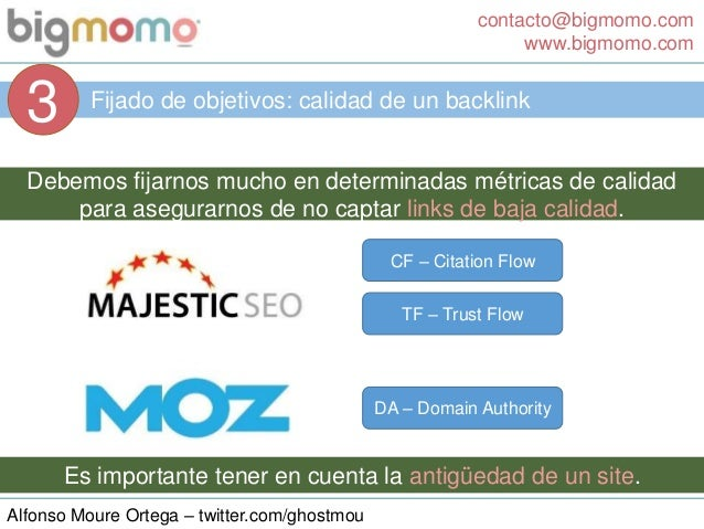 contacto@bigmomo.com www.bigmomo.com Alfonso Moure Ortega – twitter.com/ghostmou Fijado de objetivos: calidad de un backli...