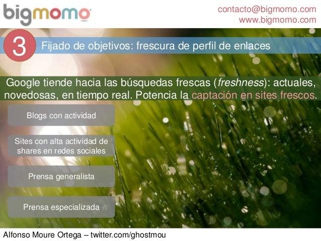 contacto@bigmomo.com www.bigmomo.com Alfonso Moure Ortega – twitter.com/ghostmou Fijado de objetivos: frescura de perfil d...