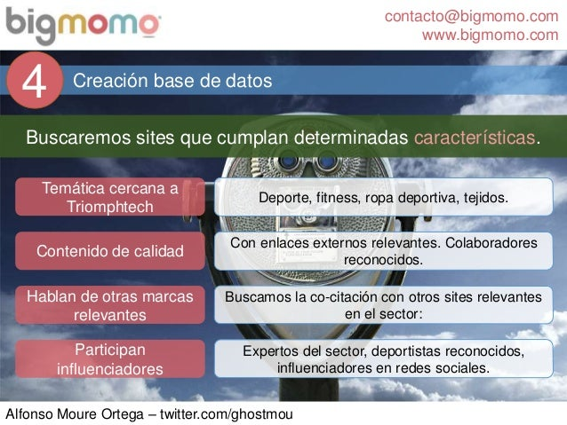contacto@bigmomo.com www.bigmomo.com Alfonso Moure Ortega – twitter.com/ghostmou Creación base de datos 4 Buscaremos sites...