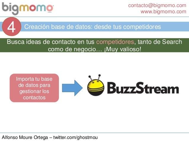 contacto@bigmomo.com www.bigmomo.com Alfonso Moure Ortega – twitter.com/ghostmou Creación base de datos: desde tus competi...