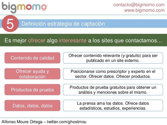 contacto@bigmomo.com www.bigmomo.com Alfonso Moure Ortega – twitter.com/ghostmou Definición estrategia de captación 5 Es m...