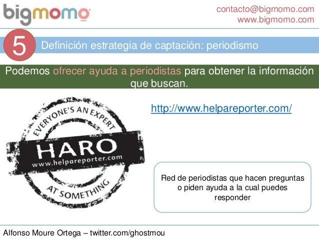 contacto@bigmomo.com www.bigmomo.com Alfonso Moure Ortega – twitter.com/ghostmou Definición estrategia de captación: perio...