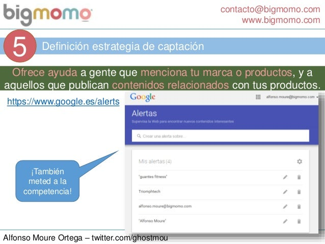 contacto@bigmomo.com www.bigmomo.com Alfonso Moure Ortega – twitter.com/ghostmou Definición estrategia de captación 5 Ofre...