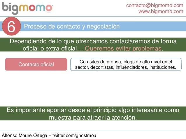 contacto@bigmomo.com www.bigmomo.com Alfonso Moure Ortega – twitter.com/ghostmou Proceso de contacto y negociación 6 Depen...