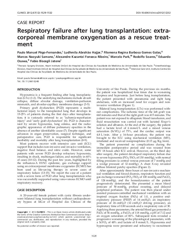 CASE REPORTRespiratory failure after lung transplantation: extra-corporeal membrane oxygenation as a rescue treat-mentPaul...
