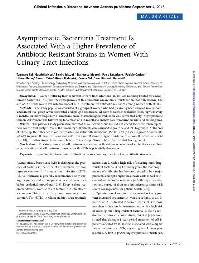El Tratamiento de bacteriuria asintomatica se asocia con