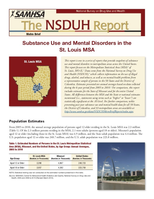 St. Louis MSA Substance Use and Mental Disorders in the Metro Brief St. Louis MSA This report is one in a series of report...