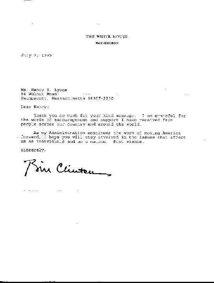 President clintons thank you letter expocarfo Choice Image