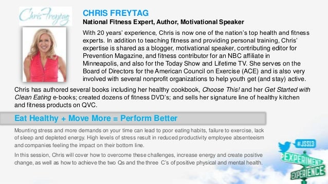 CHRIS FREYTAG National Fitness Expert, Author, Motivational Speaker With 20 years' experience, Chris is now one of the nat...