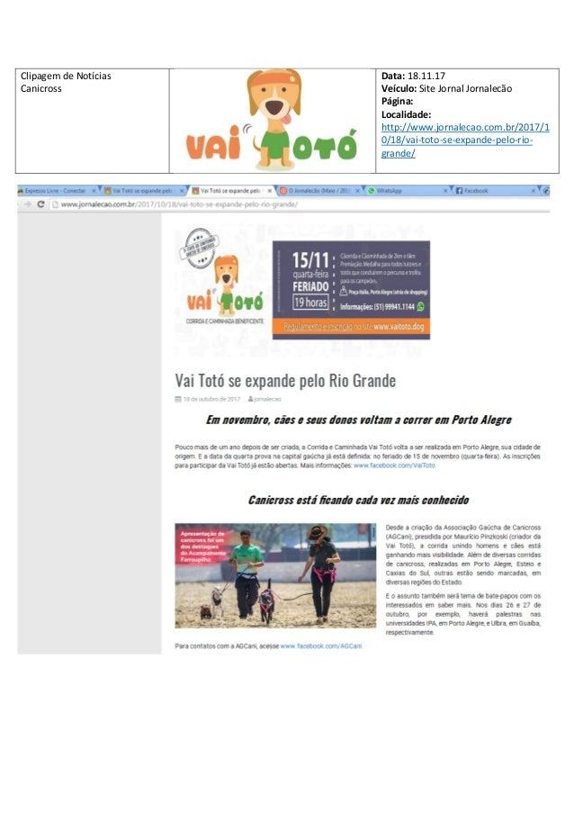 Clipagem de Not�cias Canicross Data: 18.11.17 Ve�culo: Site Jornal Jornalec�o P�gina: Localidade: http://www.jornalecao.co...