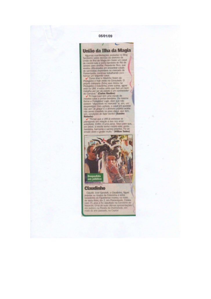 Clipagem dos jornais ano 2009