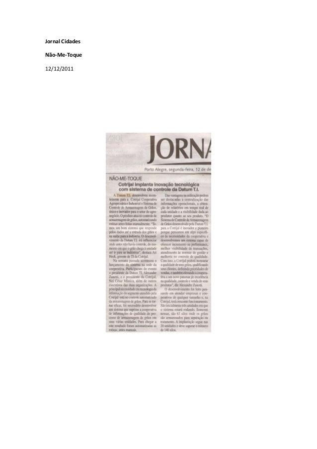 Jornal Cidades Não-Me-Toque 12/12/2011