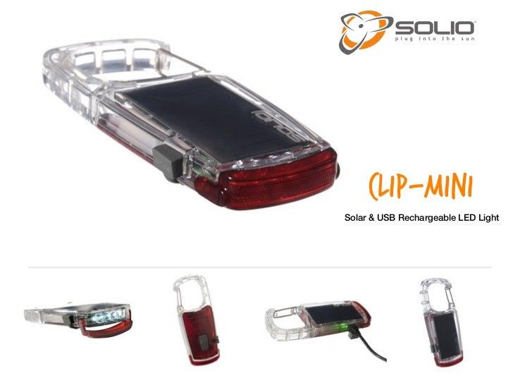 CLIP-MINISolar & USB Rechargeable LED Light