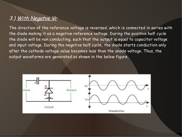 3.) With Negatve Vr The direction of the reference voltage is reversed, which is connected in series with the diode making...