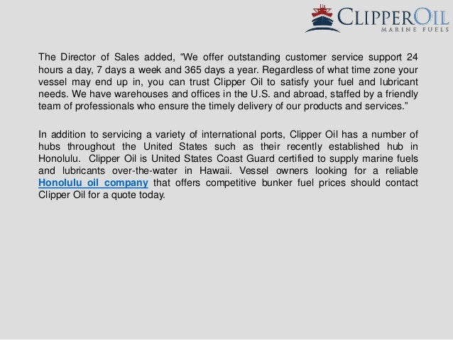 Clipper oil offers competitive marine fuel prices