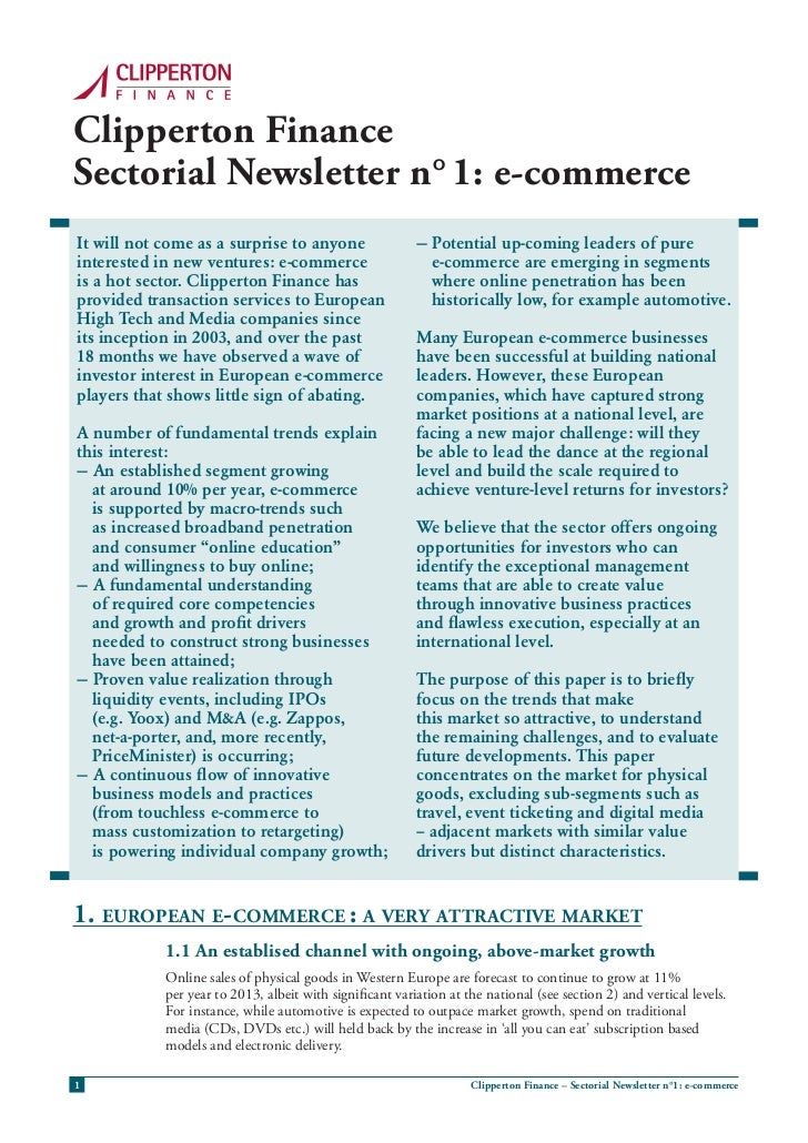 Clipperton FinanceSectorial Newsletter n° 1: e-commerceIt will not come as a surprise to anyone                  — Potenti...