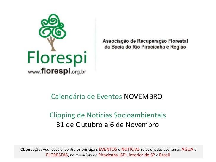 Clipping de Notícias Socioambientais 31 de Outubro a 6 de Novembro Calendário de Eventos  NOVEMBRO  Observação: Aqui você ...
