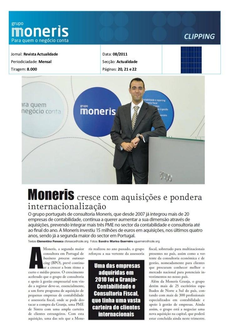 Jornal: Revista Actualidade   Data: 08/2011Periodiciadade: Mensal        Secção: ActualidadeTiragem: 8.000                ...