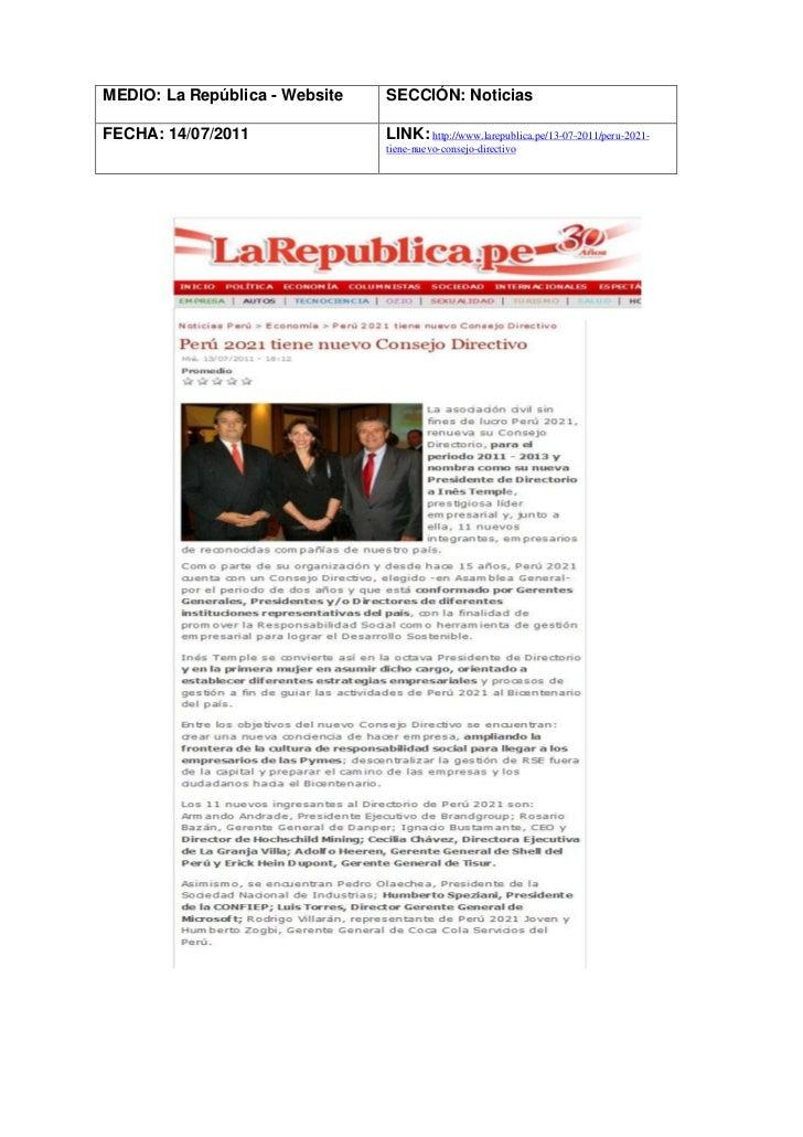 MEDIO: La República - Website   SECCIÓN: NoticiasFECHA: 14/07/2011               LINK: http://www.larepublica.pe/13-07-201...