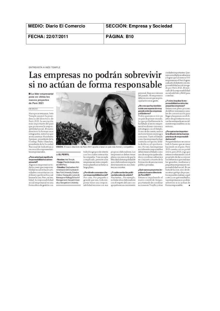 MEDIO: Diario El Comercio   SECCIÓN: Empresa y SociedadFECHA: 22/07/2011           PÁGINA: B10