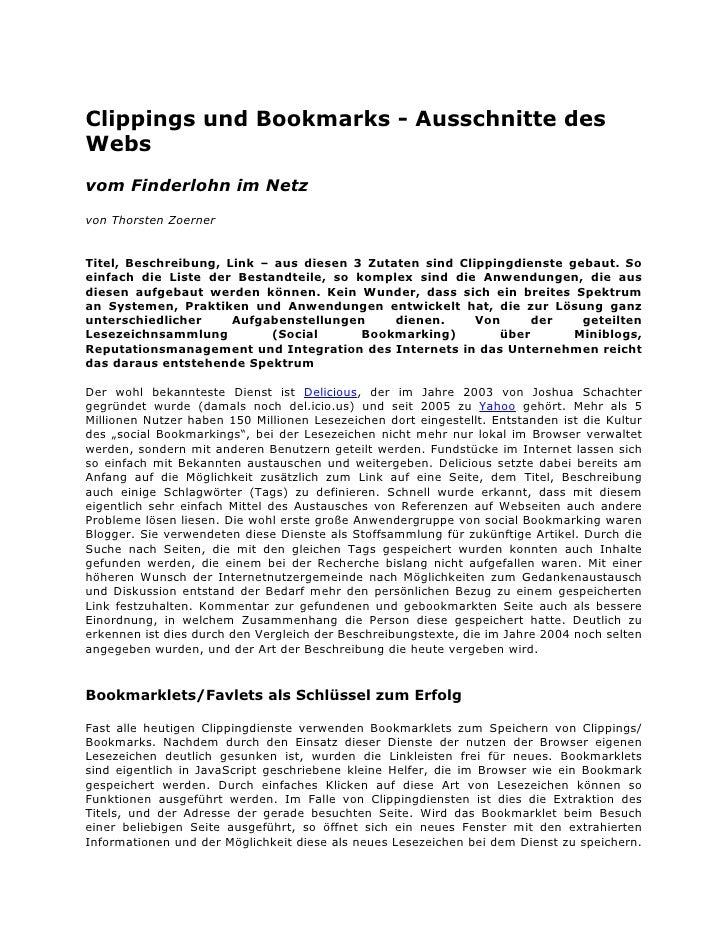 Clippings und Bookmarks - Ausschnitte des Webs vom Finderlohn im Netz von Thorsten Zoerner   Titel, Beschreibung, Link – a...