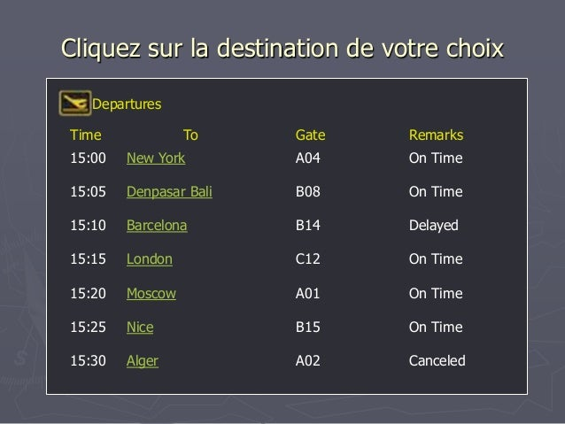 Cliquez sur la destination de votre choix Time To Gate Remarks Departures 15:00 New York A04 On Time 15:05 Denpasar Bali B...
