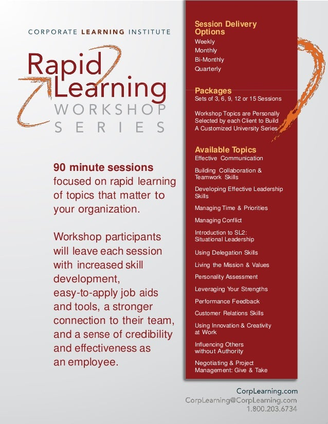 Session Delivery Options Weekly Monthly Bi-Monthly Quarterly Packages Sets of 3, 6, 9, 12 or 15 Sessions Workshop Topics a...