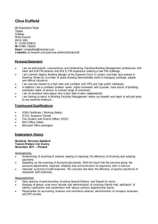 Clive Duffield 96 Shackleton Road Tilgate Crawley West Sussex RH10 5DE T: 01293 525810 M: 07480 182402 Email : cliveduffie...