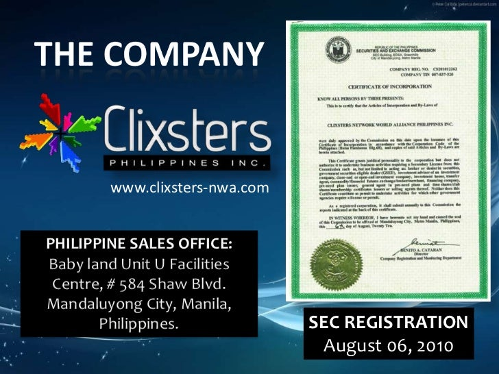 THE COMPANY<br />www.clixsters-nwa.com<br />PHILIPPINE SALES OFFICE:<br />Baby land Unit U Facilities Centre, # 584 Shaw B...
