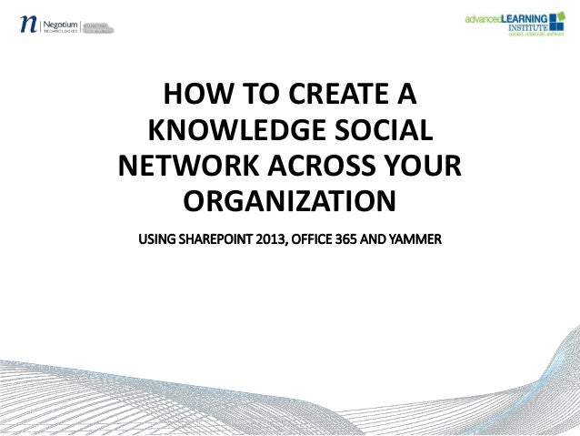 HOW TO CREATE A KNOWLEDGE SOCIAL NETWORK ACROSS YOUR ORGANIZATION USING SHAREPOINT 2013, OFFICE 365 AND YAMMER