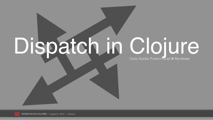 Dispatch in Clojure                             Carlo Sciolla, Product Lead @ BackbaseDISPATCH IN CLOJURE | August 8, 2012...