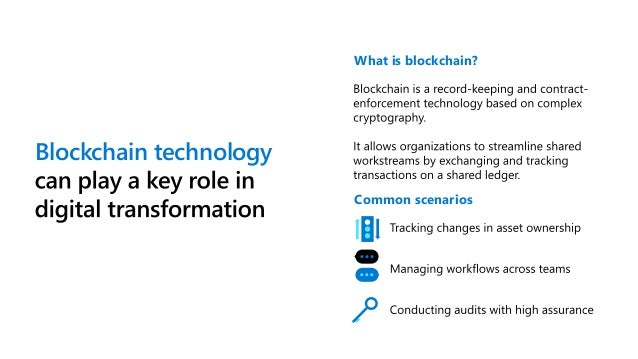 Transform your business with blockchain on Azure Create smarter and more efficient processes with Azure blockchain offerin...