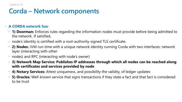 Corda – Cloud network topology CORDA BY R3  A Corda network is: